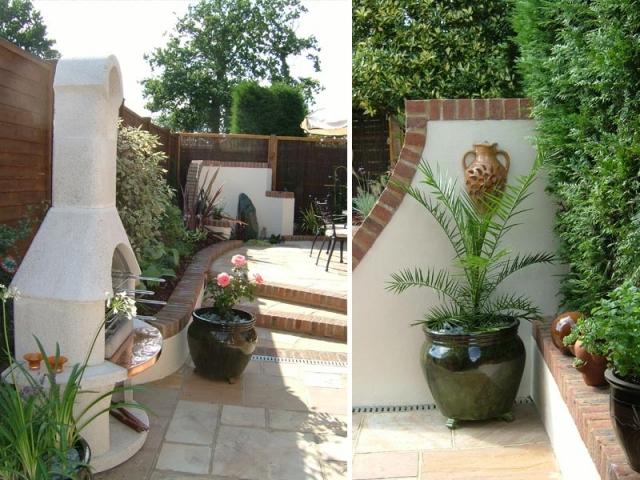 Courtyard garden with Mediterranean feel