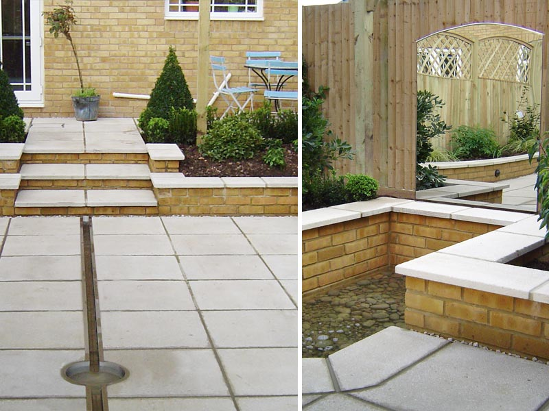 Custom built stainless steel rill flows into a reflecting pebble pool