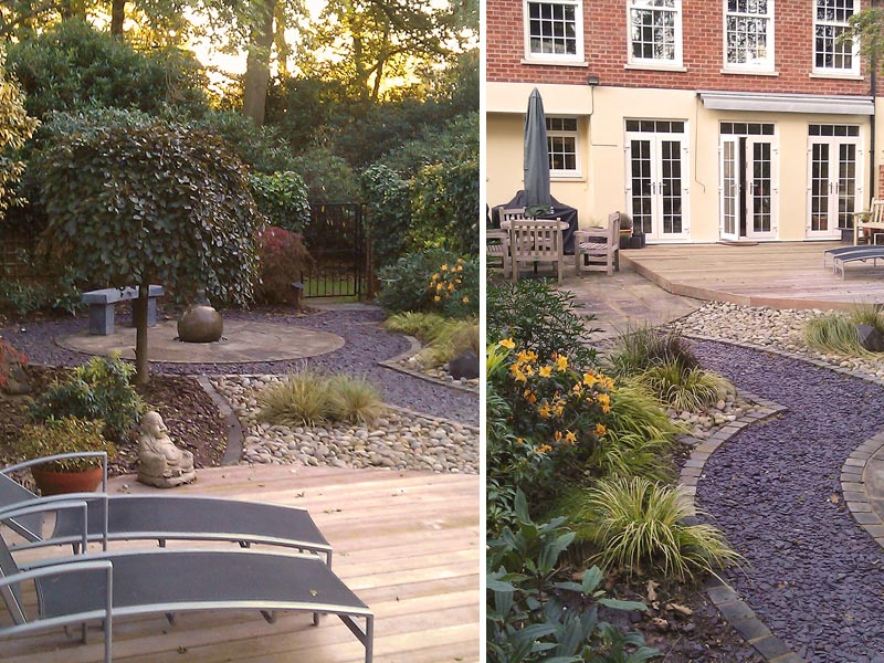 Courtyard garden with deck, circle feature and water feature