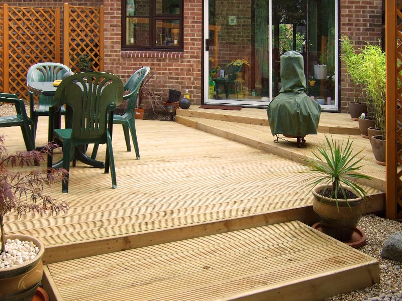 Small garden with decking on different levels