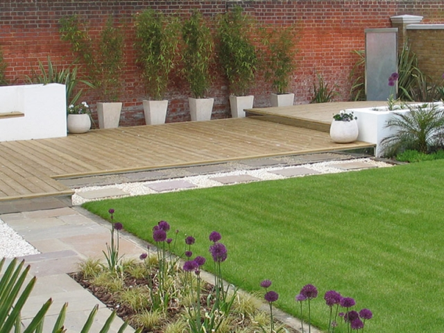Sun deck with potted bamboos