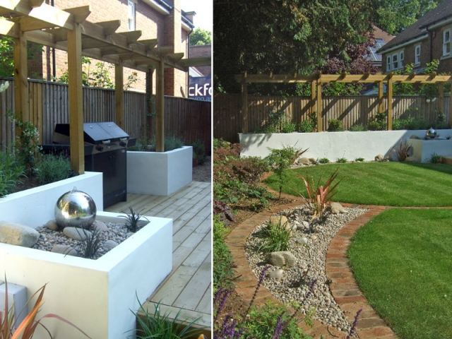 Pergola, white rendered walls and circular lawns