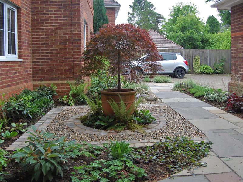 Shady courtyard front garden