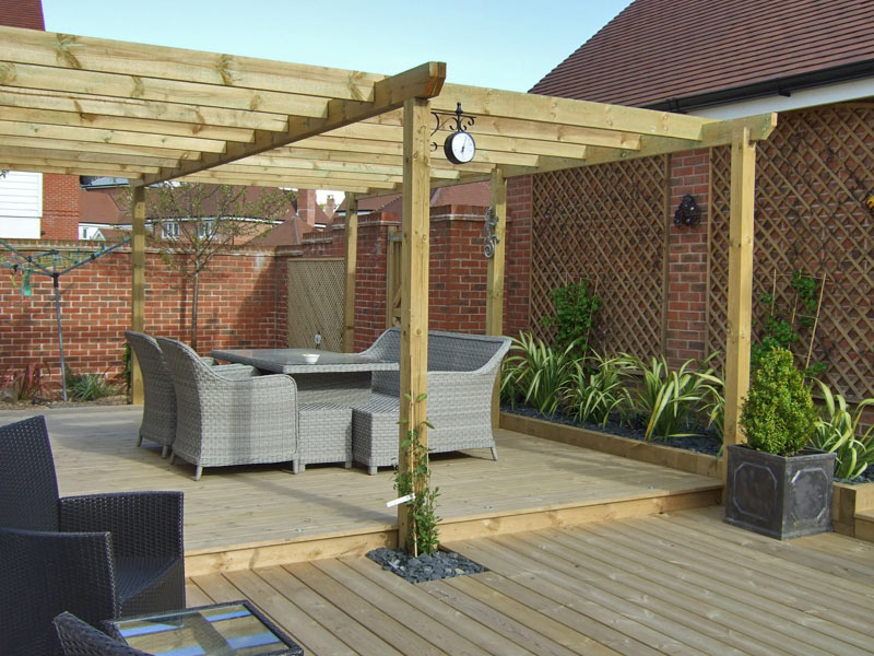 Large pergola over a deck