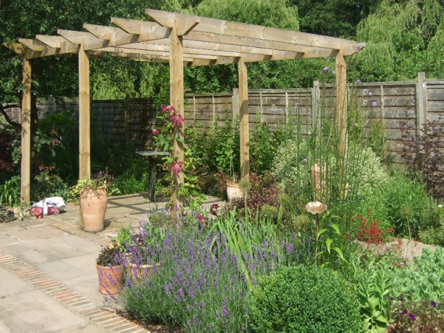 Pergola in summer with lavender and box balls