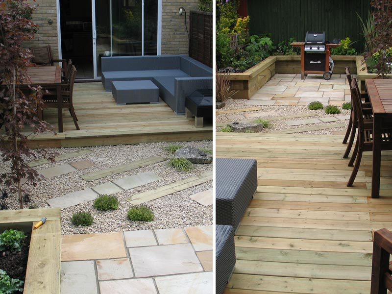 Courtyard garden with decking, gravel, paving and raised bed