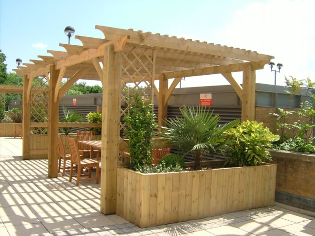 Shaded al fresco dining area