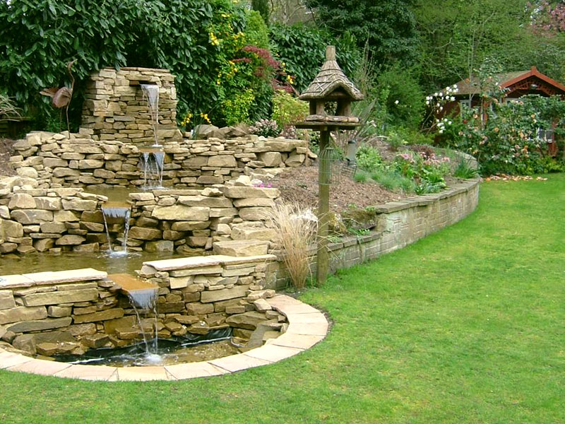 Cascading Water Feature with Drystone Wall Effect