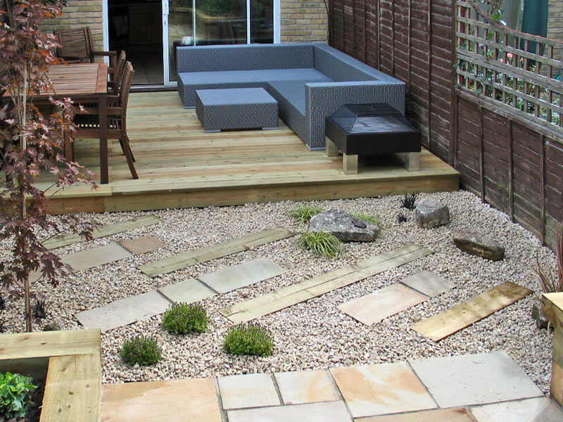 Compact garden - View to house with raised decking seating and dining area