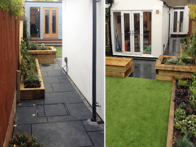 Tiny courtyard garden with limestone paving, artifical turf, built-in storage benches and sleeper raised beds