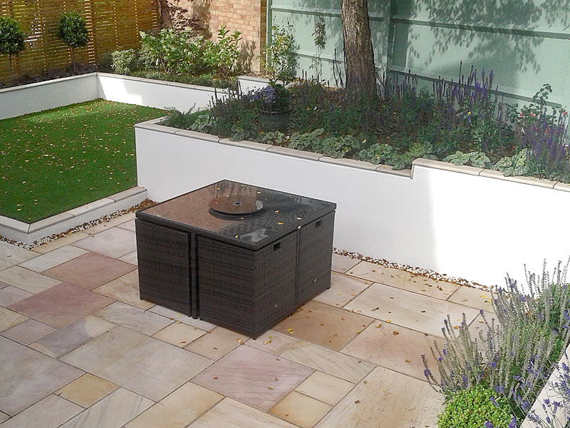 Contemporary garden on different levels