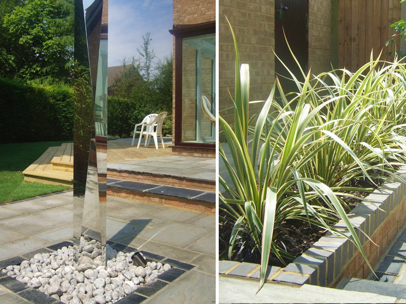 Stainless steel sculpture and block planting
