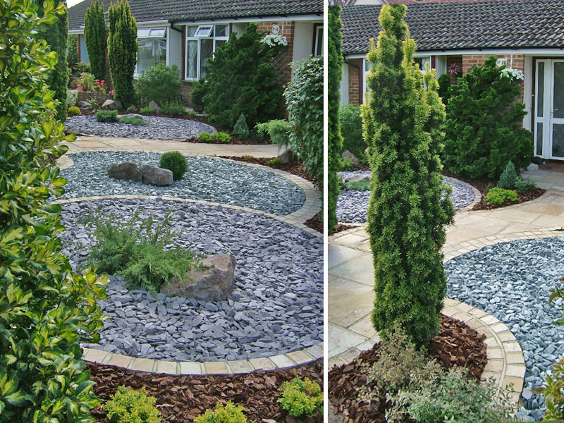 Contrasting coloured circles of slate replace the lawn and simple evergreen planting provides yearound structure in this low maintenance front garden.