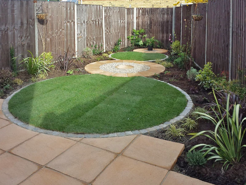 Small garden with circular design