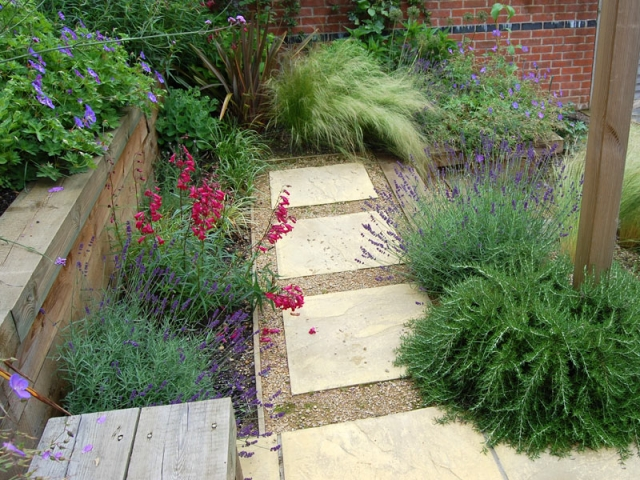 Sleeper Terrace with stepping stone path
